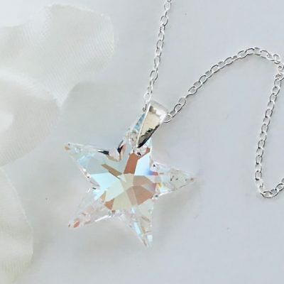 £13.99 • Buy 925 Silver Made With Swarovski® Crystals Star Necklace Pendant Blue AB Jewellery