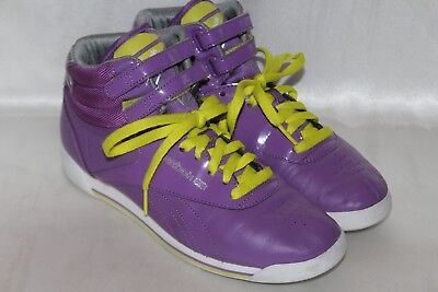 eae49fb9b42 REEBOK Classic FREESTYLE Retro 80 s Violet High Hi Top Sneakers Shoes Sz 8  • 74.36