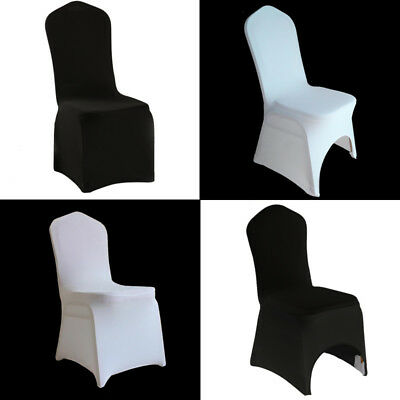 £79.14 • Buy 50/100pcs Black White Chair Covers Spandex Lycra ARCH FRONT Wedding Slipcovers