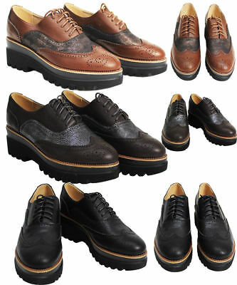 New Ladies Womens Lace Up Platform Wedges Flat Brogues Loafer Creepers Sizes • 15.96£