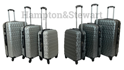 Suitcase 4-Wheel Spinner Hard-Shell Luggage Cabin Trolley Diamond Pattern • 30.99£