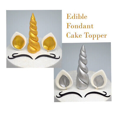 AU16.50 • Buy UNICORN Fondant Edible CAKE Toppers HORN EARS AND EYES Birthday GOLD/SILVER