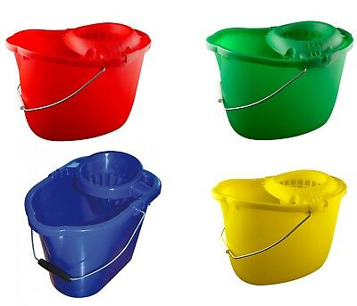 £6.99 • Buy Industrial Plastic Mop Bucket & Wringer 15lt Colour Coded Blue Red Green Yellow