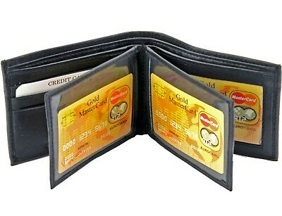 $7.99 • Buy Mens Genuine Leather Bifold Wallet ID Credit Card Holder W/ 2 Center Flap Window