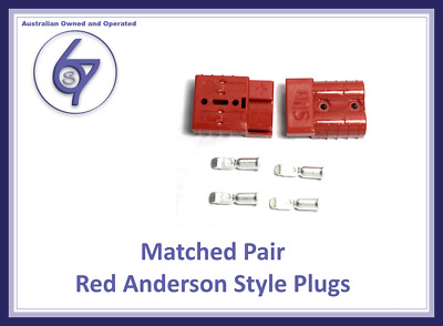 AU7.15 • Buy 2X RED ANDERSON PLUGS 50 AMP PREMIUM HEAVY DUTY 6AWG 4WD Solar Caravan Camping