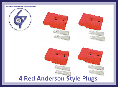 AU13.25 • Buy 4 X Red Anderson Plugs 50 Amp Premium Heavy Duty 6awg Pins