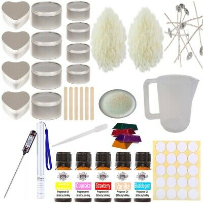 Soy Wax Candle Making Kit 11  Beginner Starter Set Tins Fragrance Colour Glitter • 29.95£
