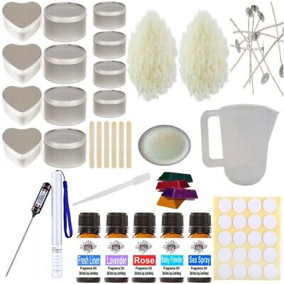 Soy Wax Candle Making Kit 12 - Beginner Starter Set Tins Fragrance & Colour Gift • 29.95£