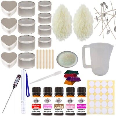 Soy Wax Candle Making Kit 14 - Beginner Set Tins Sweet Fragrance Colour Glitter • 29.95£
