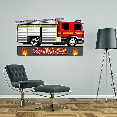 £19.99 • Buy FIRE ENGINE PERSONALISED WALL STICKER Children's Boy's Bedroom Decal Art 2 Sizes