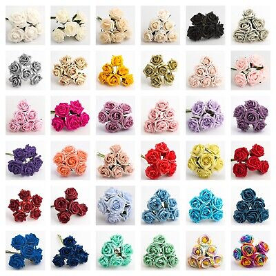 £4.95 • Buy 5CM FOAM ROSES - Bunch Of 6 Colourfast Artificial Wedding Bouquet Flowers Stems