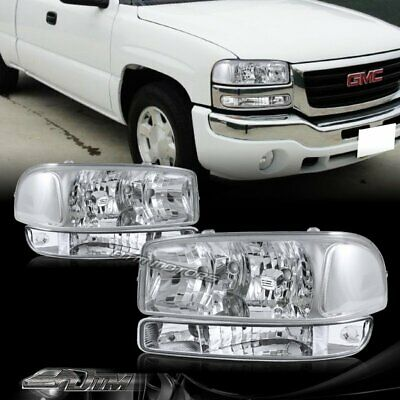 $92.99 • Buy For 99-06 GMC Sierra 1500 2500 Chrome Headlights+Bumper Clear Reflector Lamps