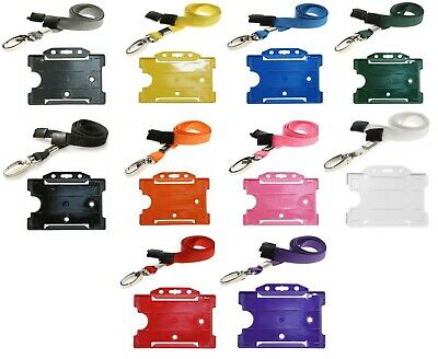 ID Neck Lanyard With Strong Metal Clip & Single Sided ID Badge Card Holder NHS • 1.99£