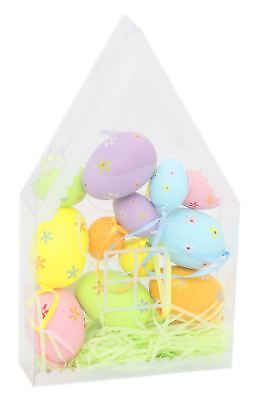 Set Of 12 Mixed Sized Hanging Easter Egg Decorations In House Shaped Box • 7.79£