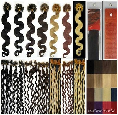 New 7A 20  Keratin Nail/U Tip Remy Human Hair Extensions 100s 8Colors Curly Wavy • 28.02$