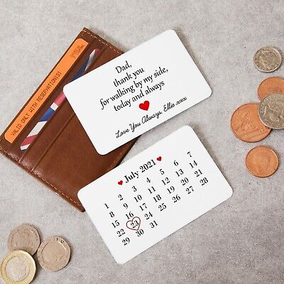 Personalised DOUBLE SIDED Keepsake Father Of The Bride Metal Wallet Card Gift • 4.99£