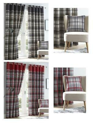 Lined Curtains Tartan Check Eyelet Ring Top Curtains Red & Grey Or Charcoal & Ta • 24.29£