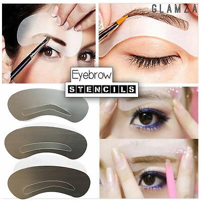 3 Pack Eyebrow Shaping Stencil Template Kit Eye Brow Make Up Pencil Grooming  • 1.39£