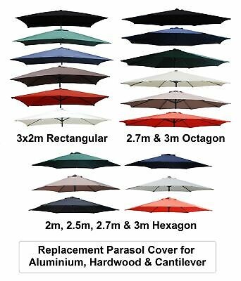 2m 2.5m 2.7m 3m 3x2m Replacement Fabric Garden Parasol Canopy Cover 6 Or 8 Arm • 22.99£