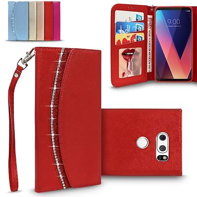 AU9.16 • Buy For LG V30 /Plus Luxury Leather Wallet Mirror Case Card Slot Flip Magnetic Cover
