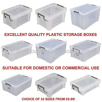 £5.09 • Buy NEW Allstore Commercial Quality Clear Plastic Storage Box Boxes & Lids 33 Sizes