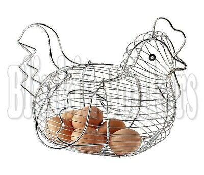 Big Chicken Egg Holder Wire Hen Shaped Kitchen Storage Store Basket Display Rack • 10.39£