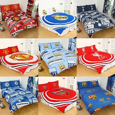 Football Club Double Duvet Quilt Cover Sets Boys Kids Bedroom Cotton • 14.95£