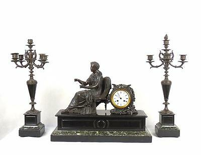 French 19thC Green Marble Slate Bronze Metal Clock Garniture Candelabra • 495£