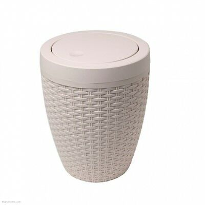 Addis Rattan Bath Waste Bin With Swing Lid (round) - Beige • 14.93£