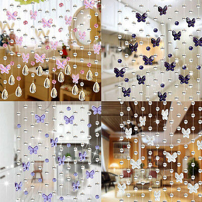 Glass Crystal Beads Curtain Window Door Passage Wedding Backdrop 4 Colors W/ • 4.01£