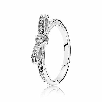 2cd96141d New Authentic Pandora 925 Silver Sparkling Bow Ring 190906CZ Size 6/52 W/  BOX