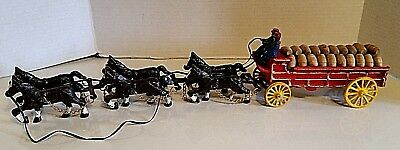 $ CDN104.26 • Buy Vintage Budweiser Cast Iron Beer Wagon 6 Clydesdale Horses 2 Men 30 Barrels