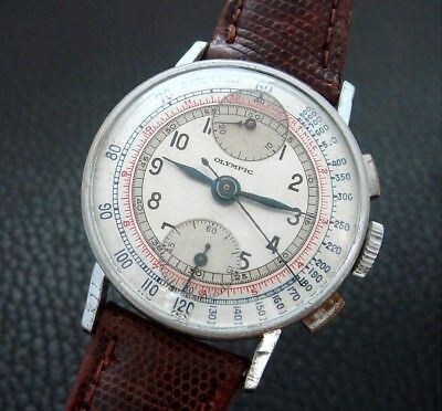$ CDN1328.27 • Buy Men's Antique Vintage Olympic Watch Co. Two Register Chronograph W/Box -SERVICED
