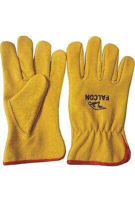 Driver Gloves Unlined Leather Lorry Drivers Work Working Gloves Handling Yellow • 21£