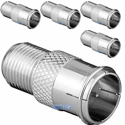 £2.85 • Buy ZINC 5 X F TYPE MALE QUICK TO FEMALE PUSH ON FAST FIT TV Aerial Sky Connector