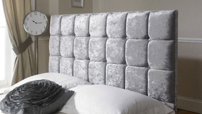 £39.99 • Buy Crushed Velvet Cube Bed Headboard Buttoned Fabric Headboard With Height 26
