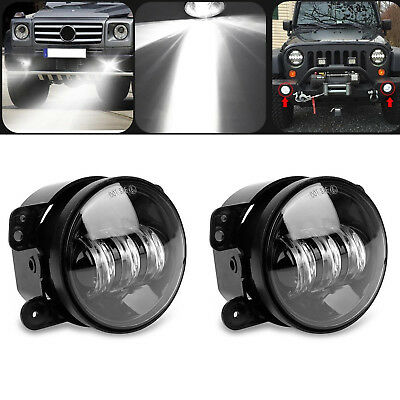 $31.04 • Buy Pair 4  Inch Osram Round LED Fog Lights Driving Lamps For Jeep Wrangler JK TJ CJ