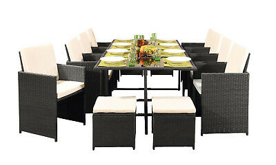 £449.99 • Buy 12 Seater Rattan Outdoor Garden Furniture Set - 8 Chairs 4 Stools & Dining Table