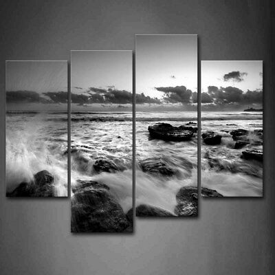 $47.49 • Buy Framed Black White Sea Wave Seascape Canvas Print Wall Art Painting Picture
