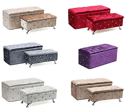 Set Of Crushed Velvet Ottoman Storage Pouffe Blanket Chest Box Bench Stool Crush • 4.99£