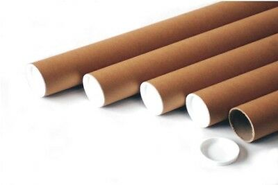 $23 • Buy 10 Kraft Mailing Tubes With End Caps 2  X 24   Perfect For Sending Documents, P