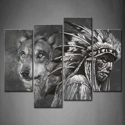 $49.99 • Buy Framed Wall Art Black White Wolf Indians Painting Canvas Print Animal Pictures