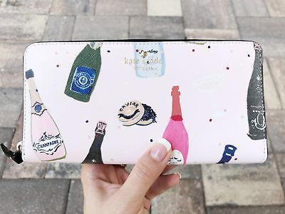 $ CDN143.99 • Buy Kate Spade Champagne Print Pink Multi Lacey Zip Around Continental Wallet