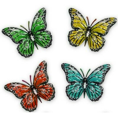 Set X 4 Decorative Garden Butterfly Fence Hangers Shed Wall Outdoor Ornaments • 9.95£