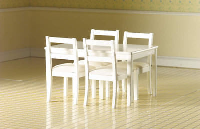 Dolls House Miniature 1/12th Scale Emporium Table And 4 Chairs Black Or White • 26.99£