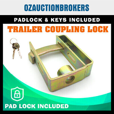 AU20.29 • Buy Heavy Duty Coupling Hitch Lock Trailer Caravan Camping With Padlock Keys
