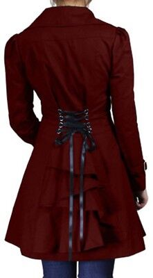 £40.70 • Buy 22 24 26 Plus - Burgundy NEW Gothic Victorian Corset Trench Steampunk Jacket
