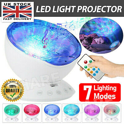 Relaxing Ocean Wave Music LED Night Light Projector Remote Lamp Baby Sleep Gift • 11.69£