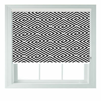 Black & White Swirls Geometric Printed Blackout Roller Blinds Made To Measure • 65£