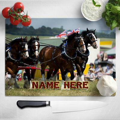 Personalised Chopping Board SHIRE HORSE Glass Kitchen Home Birthday Gift SH304 • 22.95£